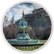 The Ross Fountain And Edinburgh Castle Round Beach Towel by Ross G Strachan