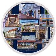 The Shops Of Provincetown Cape Cod Massachusetts Collage Pa Round Beach Towel