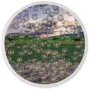 The Simplicity Of Bubbles  Round Beach Towel