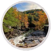 The Sinks On Little River Road In Smoky Mountains National Park Round Beach Towel