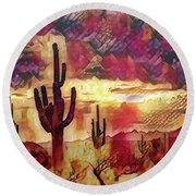 The Sonoran Saguaro  Round Beach Towel