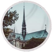 The Spire - Cathedral Of Notre Dame Paris France Round Beach Towel