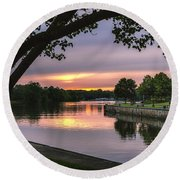 The Sunset Blues Round Beach Towel by Rod Best