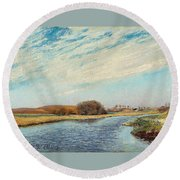 The Susaa River At Naestved, Denmark Round Beach Towel