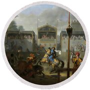 The Tournament, 1812 Round Beach Towel by Pierre Revoil