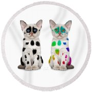 The Twins Dalmatian Cats Round Beach Towel