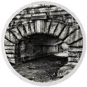 The Underpass Black And White Round Beach Towel