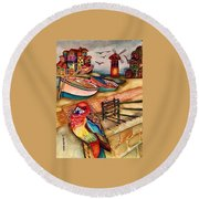 The Venician Bird Round Beach Towel