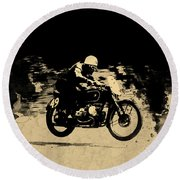 The Vintage Motorcycle Racer Round Beach Towel