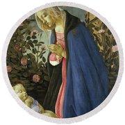 The Virgin Adoring The Sleeping Christ Child Round Beach Towel