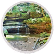 The Waterfall In Old Man's Cave Hocking Hills Ohio Round Beach Towel