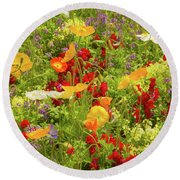 The World Laughs In Flowers - Poppies Round Beach Towel