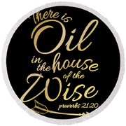 5fbdb8c8 There Is Oil Funny Religious Bible Essential Oils Tshirt Round Beach Towel