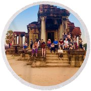 They Come To See Angkor Wat, Siem Reap, Cambodia Round Beach Towel