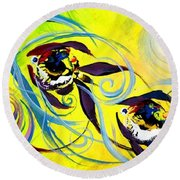 They Follow For A While Round Beach Towel
