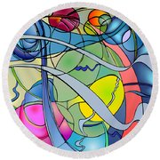 Thought Patterns #2 Round Beach Towel