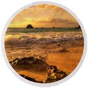 Thoughtful Morning Golden Coastal Paradise  Round Beach Towel