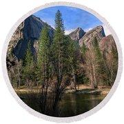 Three Brothers, Yosemite National Park Round Beach Towel