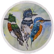 Three Kingfisher Birds - Painting By Ella Round Beach Towel
