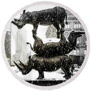 Three Rhinoceri In New York  Round Beach Towel by Chris Lord