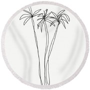 Three Tall Palm Trees- Art By Linda Woods Round Beach Towel by Linda Woods