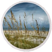 Through The Sea Oats Round Beach Towel by Judy Hall-Folde