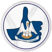 Thumbs Up Louisiana Round Beach Towel