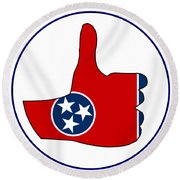 Thumbs Up Tennessee Round Beach Towel