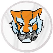 Tiger Head Bitting Beer Can Orange Round Beach Towel