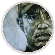 Tiger Woods - On The Road Again  Round Beach Towel