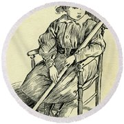 Tiny Tim From A Christmas Carol By Charles Dickens Round Beach Towel