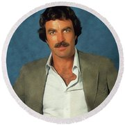 Tom Selleck, Actor Round Beach Towel