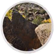 Top Of Rocks Above Canyon In Fall Round Beach Towel