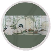 Top Quality Art - Cranes Pines And Bamboo Round Beach Towel