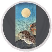Top Quality Art - Moon And  Quail Round Beach Towel