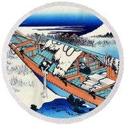 Top Quality Art - Mt,fuji36view-joshu Ushibori Round Beach Towel