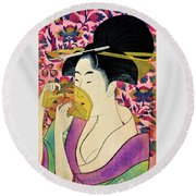 Top Quality Art - Woman With A Comb Round Beach Towel