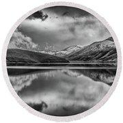Topaz Lake Winter Reflection, Black And White Round Beach Towel