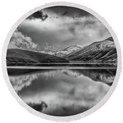 Topaz Lake Winter Reflection, Black And White Round Beach Towel