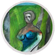 Topless Woman In A Park Round Beach Towel