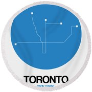 Toronto Blue Subway Map Round Beach Towel