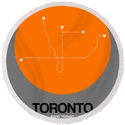 Toronto Orange Subway Map Round Beach Towel