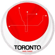 Toronto Red Subway Map Round Beach Towel