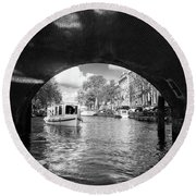 Tourboat On Amsterdam Canal Round Beach Towel