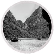 Touring Ha Long Bay Row Boats People Bw Round Beach Towel