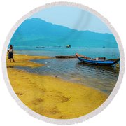 Tourists In Lang Co 2 - Hue, Vietnam Round Beach Towel