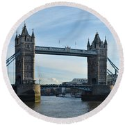 Tower Bridge At Afternoon In London Round Beach Towel