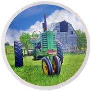 Tractor - On The Farm Round Beach Towel