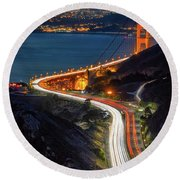 Traffic Racing Over The Golden Gate Bridge Round Beach Towel