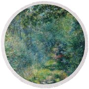 Trail In The Woods Round Beach Towel